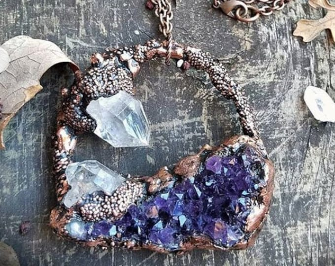 Deep Purple Raw Amethyst Cluster Pendant | Raw Clear Quartz Crystal Points | OOAK Statement Necklace