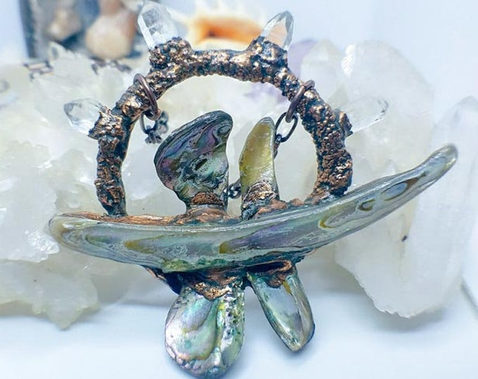 Dragonfly Pendant | Abalone Shells | Clear Crystal Points | OOAK Pendant Statement Necklace