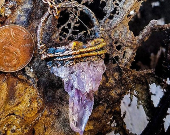 Raw Amethyst Crystal | Hand-Wrapped | Copper Electroformed | OOAK Pendant Necklace