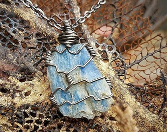 Natural Raw Blue Kyanite | Hand -Wrapped Black Iron | OOAK Handmade Pendant Necklace