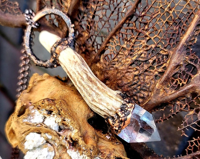Deer Antler | Crystal Clear Quartz Point | OOAK Statement Pendant Necklace