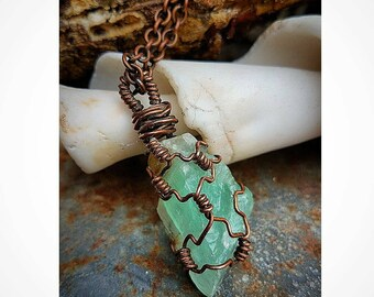 Nature Inspired Green Calcite Crystal Pendant  - Hand-Wrapped Oxidized Copper - Copper Electroformed * Healing Crystal * Handcrafted OOAK