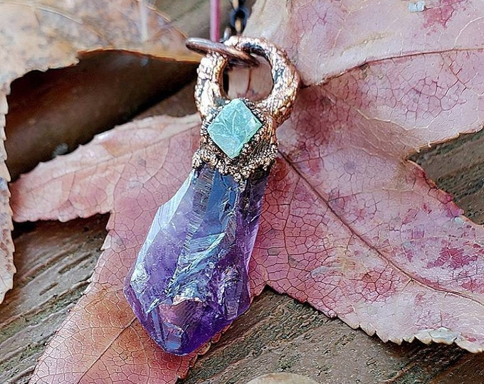 Amethyst Crystal Point | Raw Green Calcite | OOAK Handmade Pendant Necklace