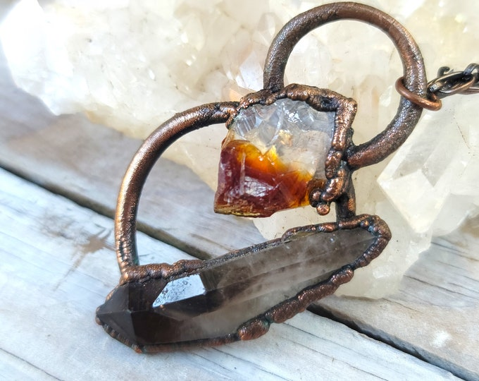 Black Twin Smoky Quartz Crystal Double Points | Honey Citrine Crystal Point | OOAK Pendant Statement Necklace
