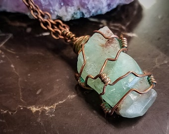 Beach Inspired * Vibrant Green Raw Calcite Crystal * Pendant Necklace * Copper Hand Wrapped * Healing Crystal * Handcrafted OOAK