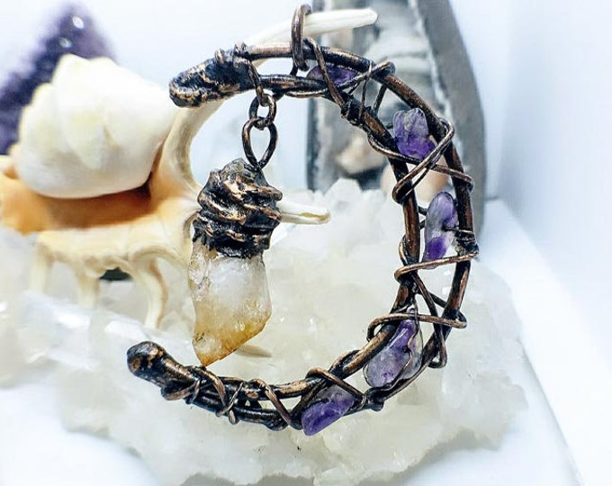 Crescent Moon | Dangling Citrine Point | Raw Amethyst | OOAK Pendant Necklace