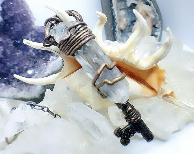 Genuine Antique Skeleton Key | Clear Quartz Crystal  Point | Copper Wrapped | OOAK  Pendant Necklace