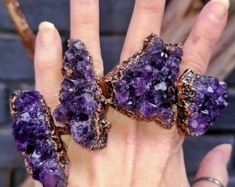 Deep Purple Raw Amethyst Cluster | Unusual Statement Ring