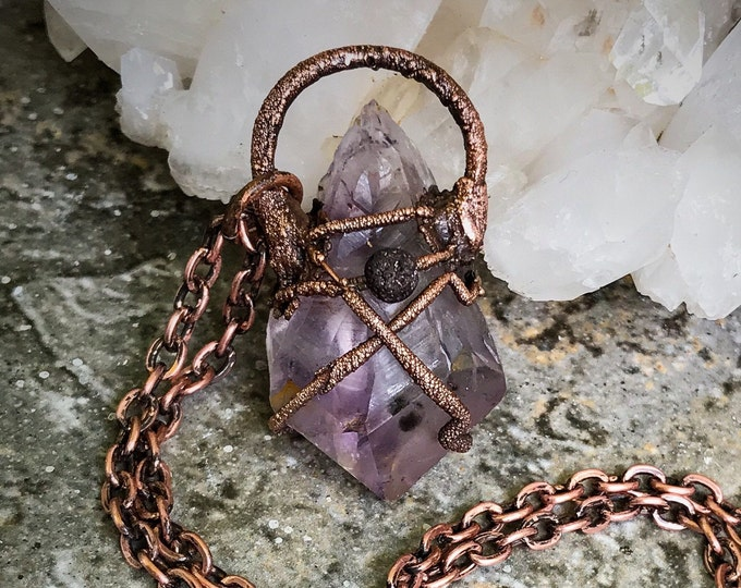 Raw Amethyst Point | Goethite Inclusions | Lava Stone for Aromatherapy | Copper Wrapped | OOAK Pendant Necklace