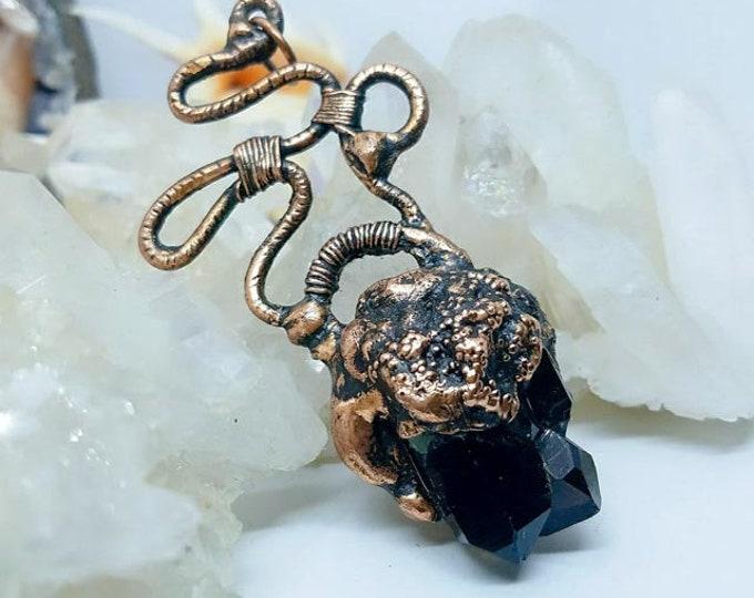 Beautiful Black Raw Smoky Quartz Cluster | OOAK Pendant Necklace