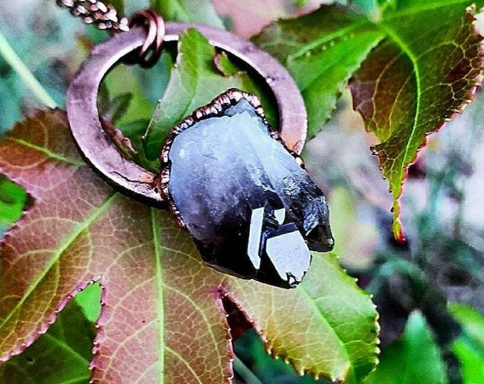 Raw BlacK Smoky Quartz Cluster |  Pendant Necklace