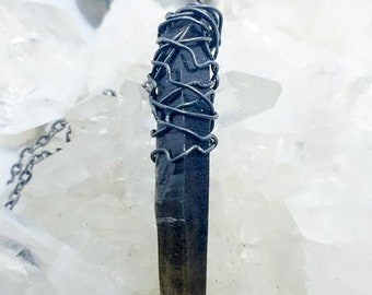 Long Black Smoky Crystal Point | Black Iron Hand-Wrapped | OOAK Handmade Pendant Necklace
