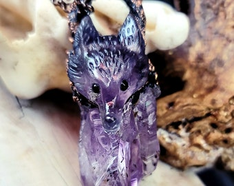 Colorful Fluorite FOX carved Pendant | Raw Amethyst | OOAK Necklace | Statement Jewelry