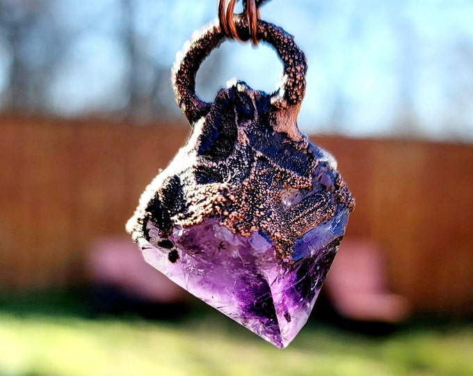 Beautiful Large Amethyst Crystal Point Pendant | Copper Electroformed | OOAK Necklace