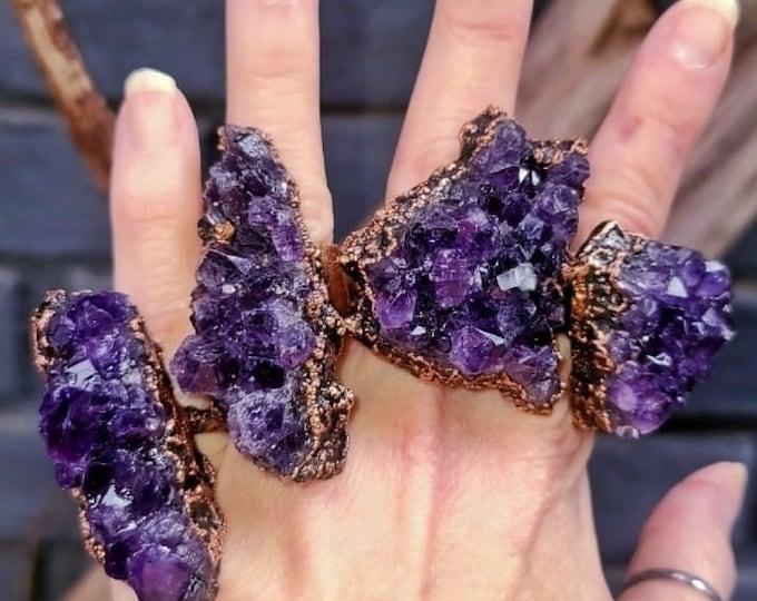 Deep Purple Raw Amethyst Cluster | Unusual Statement Ring