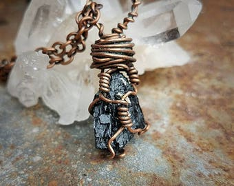 Amazing Hand-Wrapped Black Tourmaline Crystal Pendant Necklace * Hand-wrapped in Solid Copper * OOAK
