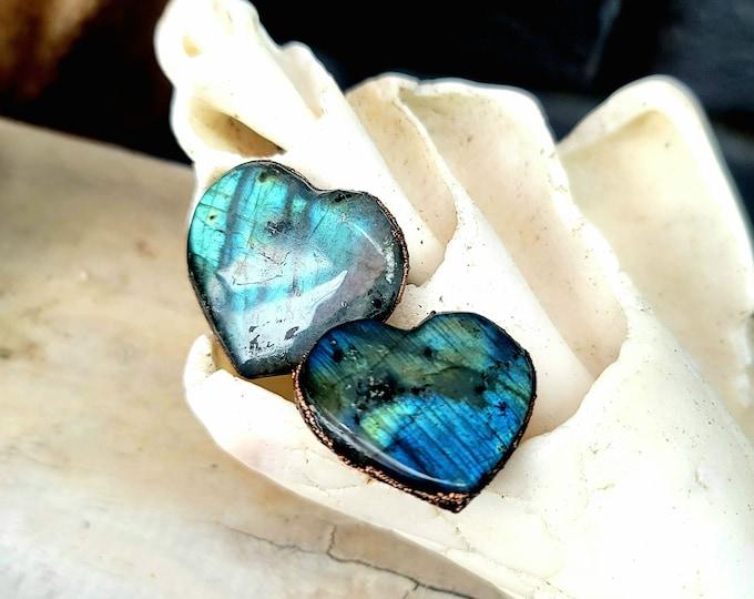 Flashy Heart Labradorite | Copper Electroformed | OOAK Handmade RIng
