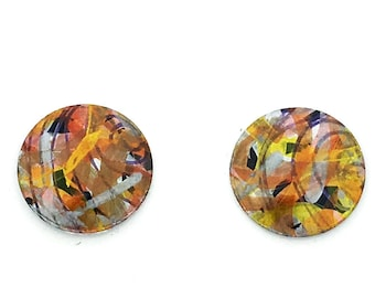 Gold & beige hand painted small round studs earrings, light weight, surgical steel posts, hypoallergenic anodized aluminum, unique