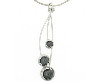 Aluminum decorated with three hematite bead necklace, light weight, classical, black