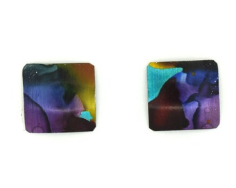 Multicolor small square studs earrings, steel posts, hypoallergenic, hand painted on anodized aluminum, won't tarnish, original, unique
