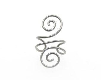 Ear Cuff - Silver spirals