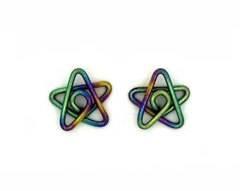 Niobium small star studs earrings