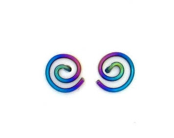 Niobium small spiral studs earrings