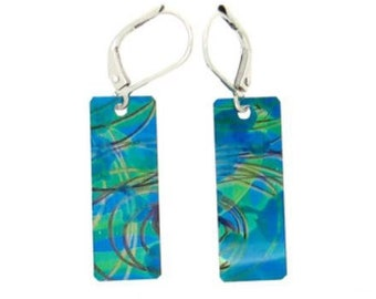 Blue-aqua multi coloured small long rectangular reversible earrings, steel reversible french hooks, hand painted on anodized aluminum,unique