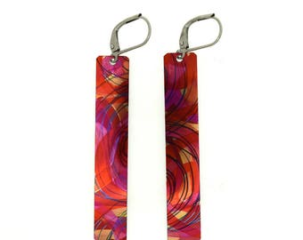 Red purple small long rectangular reversible earrings, steel reversible french hooks, hand painted on anodized aluminum, Montreal