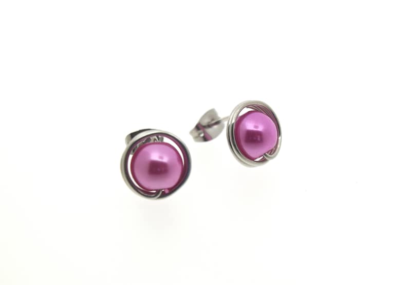 large pink round pearl studs earrings light weight image 0