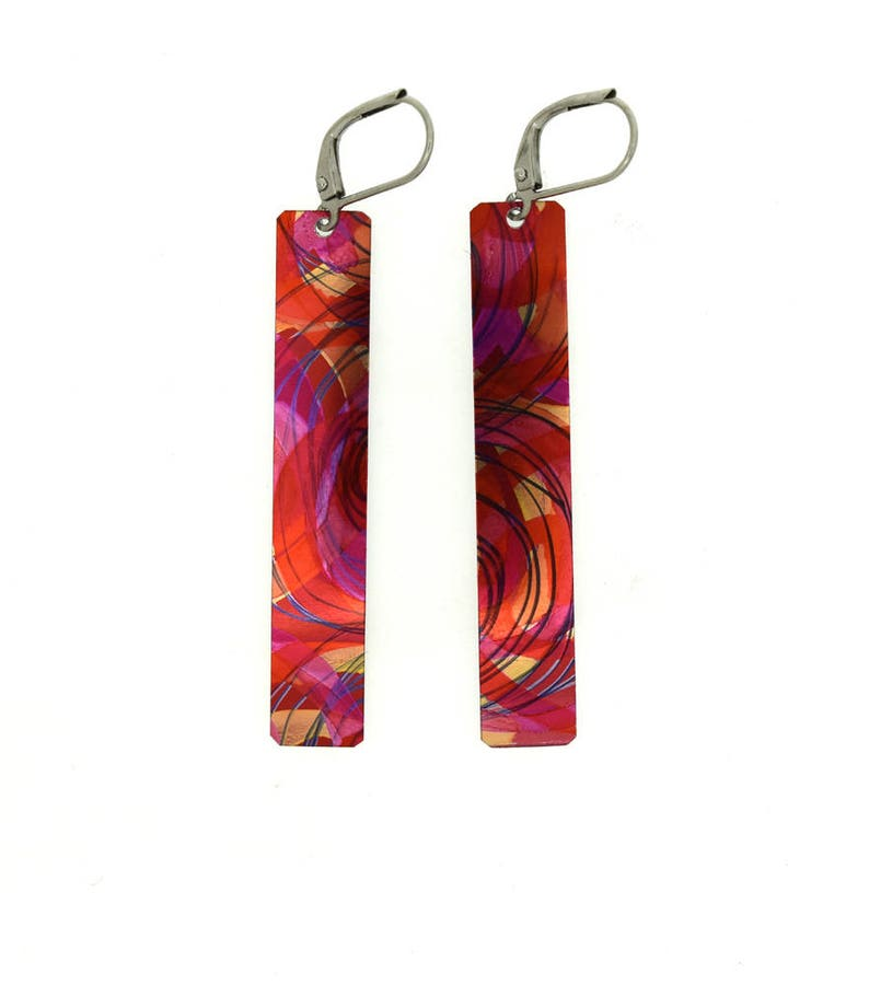 Red purple small long rectangular reversible earrings steel image 0