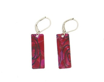 Red purple small long rectangular reversible earrings, steel reversible french hooks, hand painted on anodized aluminum