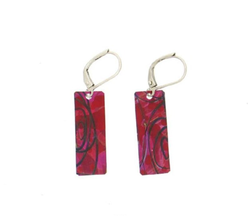 Red purple small long rectangular reversible earrings steel image 0