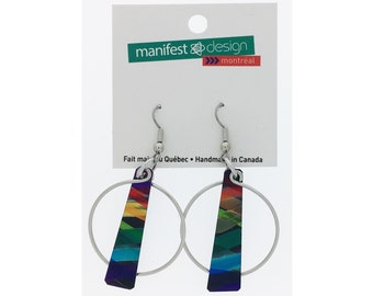 Two anodized aluminum hoop earrings, unique and original, multi coloured