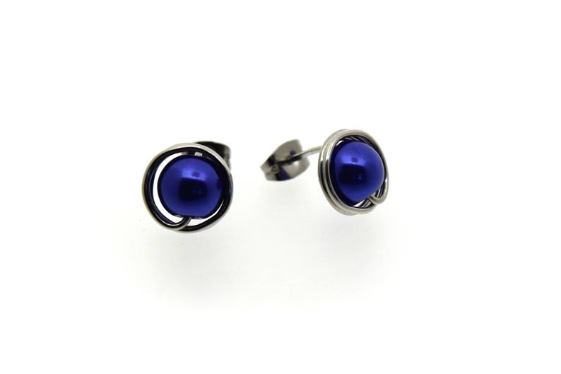 Large indigo blue round pearl studs earrings light weight image 0