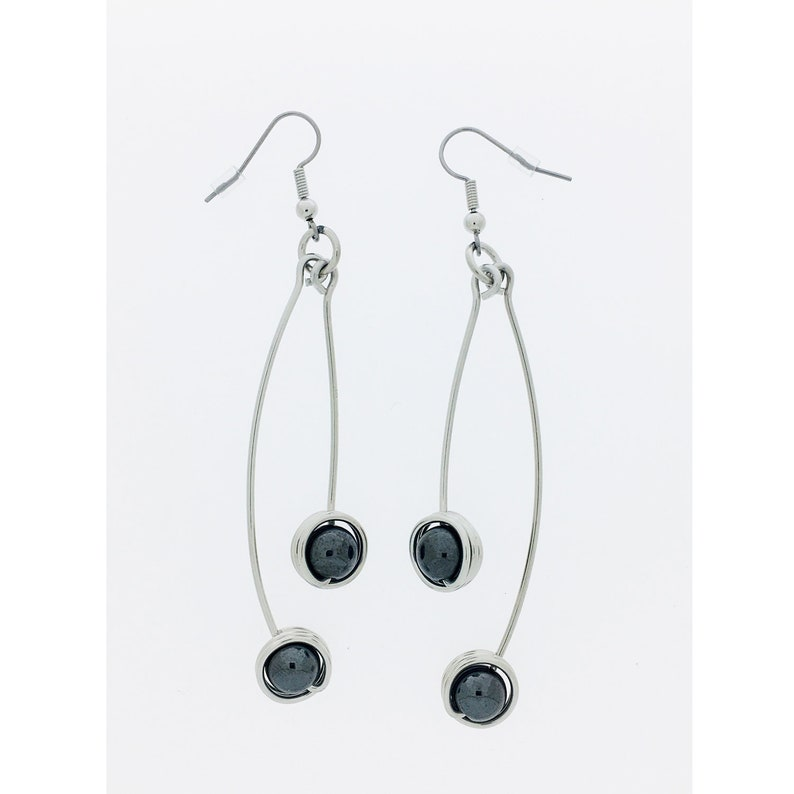 Aluminum decorated with two hematite bead pendant earrings image 0