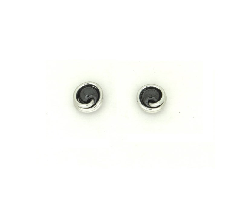 Small round hematite pearl studs earrings light weight image 0