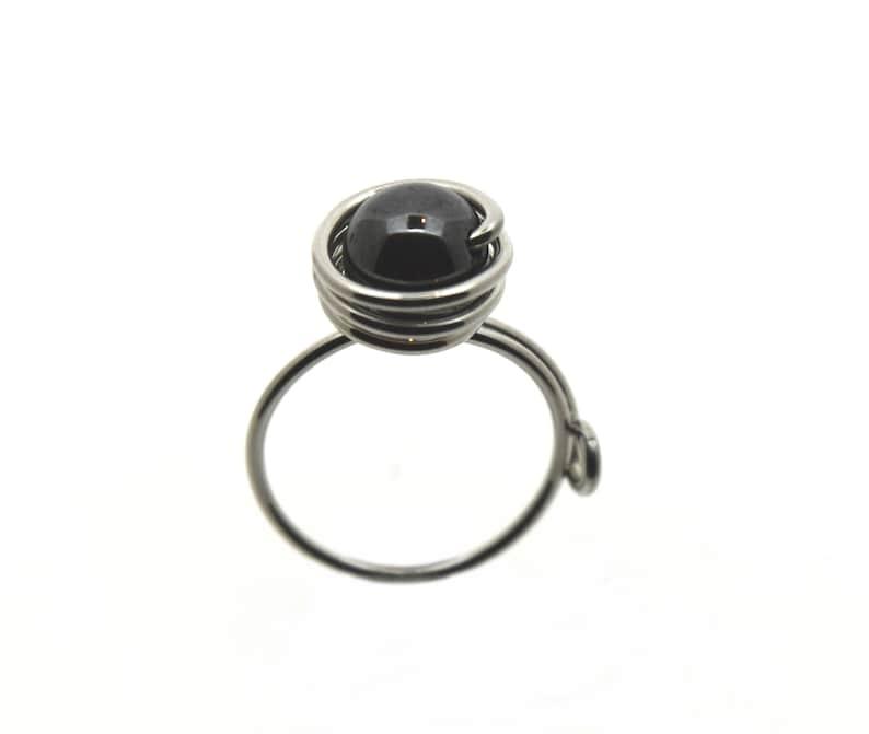 Aluminum adjustable ring decorated with hematite light image 0