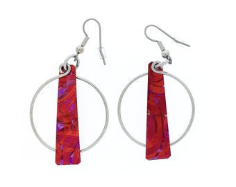 Unique red / purple earrings, steel reversible french hooks, hand painted on anodized aluminum