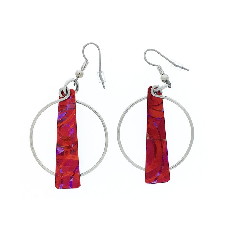 Unique red / purple earrings steel reversible french hooks image 0