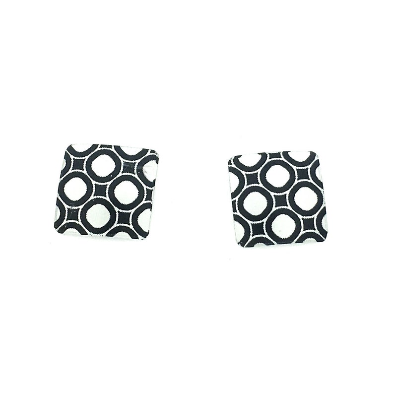 Black & white small square studs earrings steel posts image 0