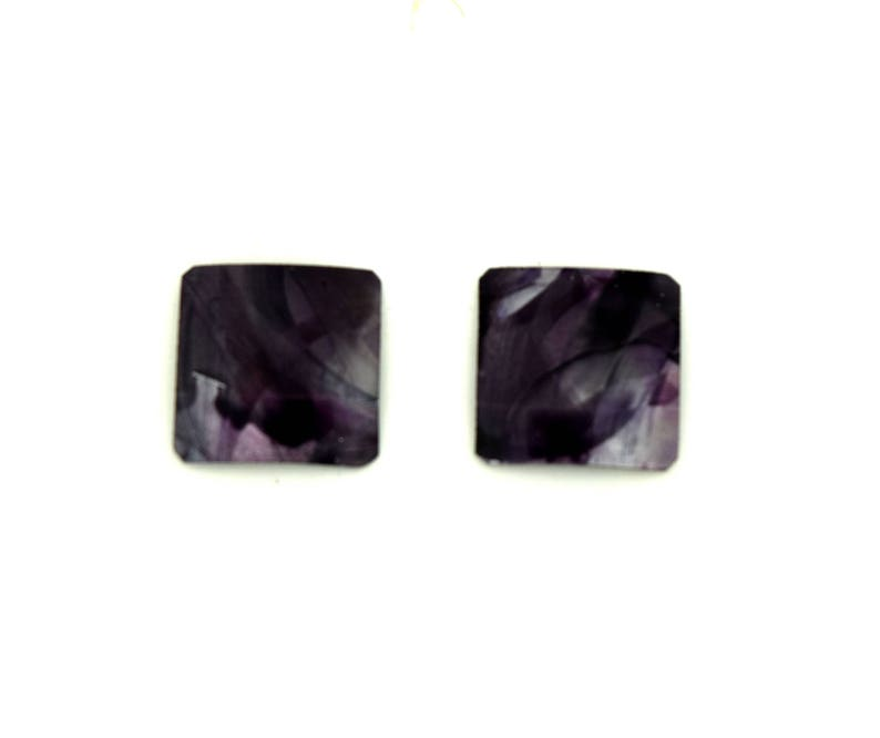 Black small square studs earrings steel posts image 0