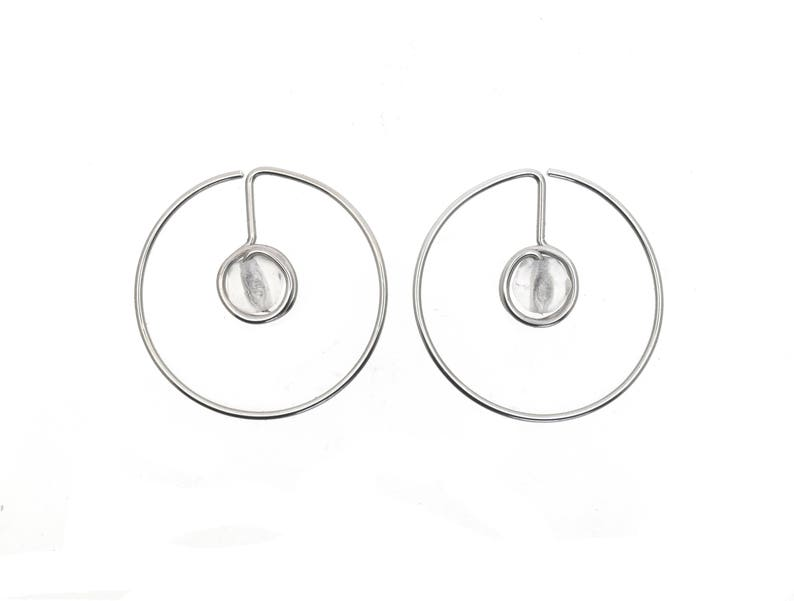 Round hula hoops earrings with transparent beads light weight image 0