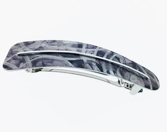 Unique, black / grey anodized aluminum hair clip, ligth weight, super resistant