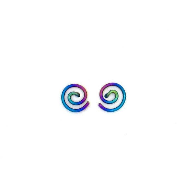 Niobium small spiral studs earrings image 1