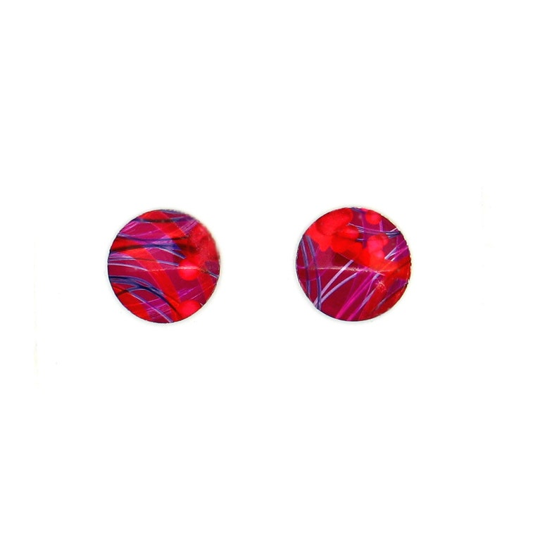 Red small round studs earrings light weight surgical steel image 0