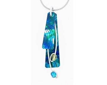Anodized aluminum sheet and wire reversible necklace with crystal beads, unique, original and chic, aqua, multi coloured