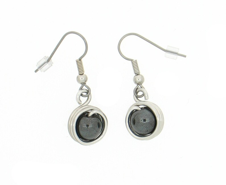 Aluminum decorated with a hematite bead earrings light image 0