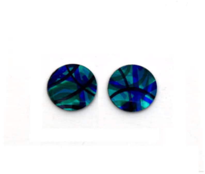 Blue & lime green small round studs earrings light weight image 0