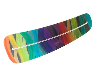 Gift idea for woman!, Rainbow, multicolored hand-painted water-resistant anodized aluminum large hair clip